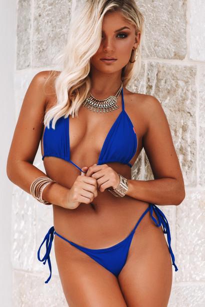 Royal Blue Triangle Top & Royal Blue G-String Thong Bottom