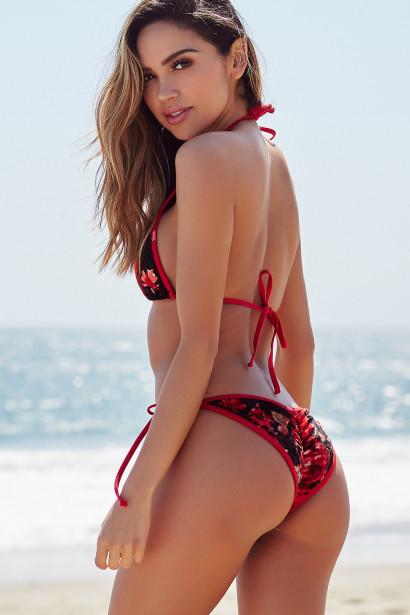 Laguna Red Floral Velvet & Red Classic Bikini Top & Panama Red Floral Velvet & Red Classic Bikini Bottom