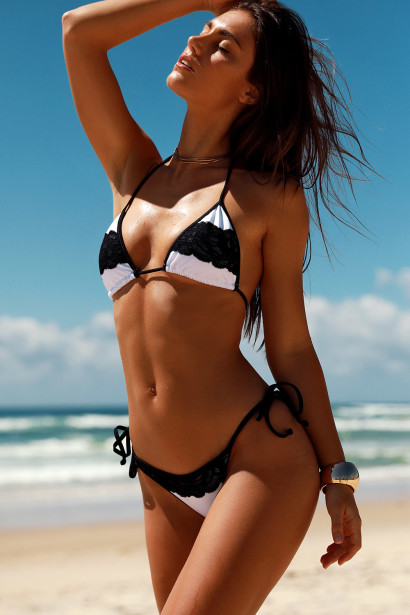 Verona White & Black Triangle Top Scrunch Bottom Sexy Lace Bikini Swimsuit