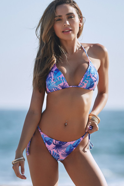 South Beach Print Triangle Top & South Beach Print Full Coverage Scrunch Bottom