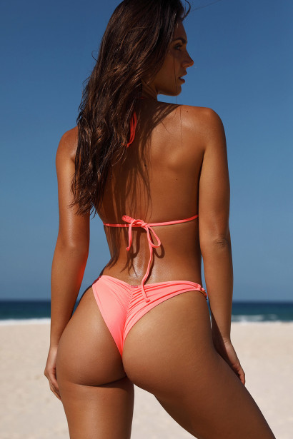 Salmon Triangle Bikini On a Chain Top & Salmon Classic Bikini On a Chain Bottom
