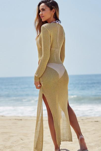 Bottega Gold Long Sleeve Maxi Dress Cover Up