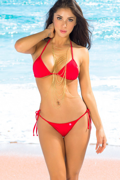 São Paulo Solid Red Triangle Bikini Top & Sexy Thong Bikini Swimsuit