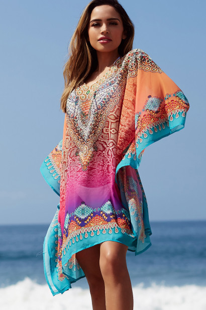 """Agua Fresca"" Pink Multi Color Snake Print Beach Cover Up"