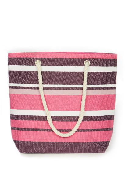 Pink & Purple Striped Beach Bag