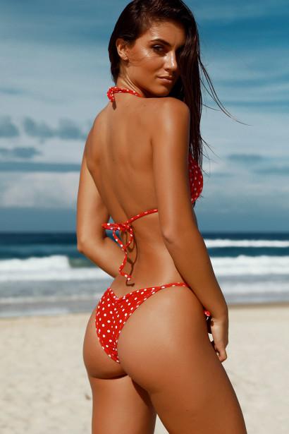 Laguna Red Polka Dot Classic Bikini Top & Venice Red Polka Dot Mid Rise Classic Bikini Bottom