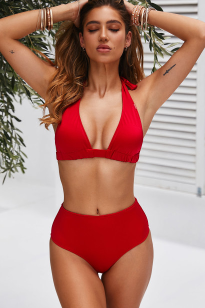 Red Adjustable Halter Top & Red Full Coverage High Waist Bottom