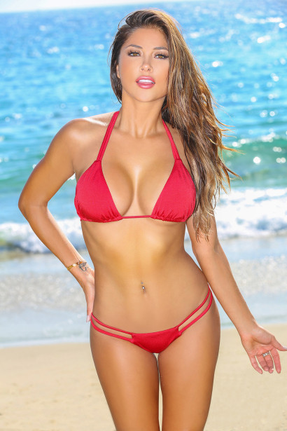 Solid Red Double Strap Triangle Top & Cheeky Micro Scrunch Swimsuit