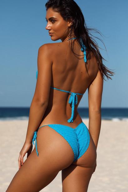 Amaryllis Turquoise Crochet Bandeau Halter Top & Micro Scrunch Bottom Bikini