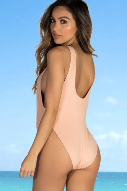 Snapdragon Blush High Cut Deep V Lace Up Sexy One Piece Swimsuit