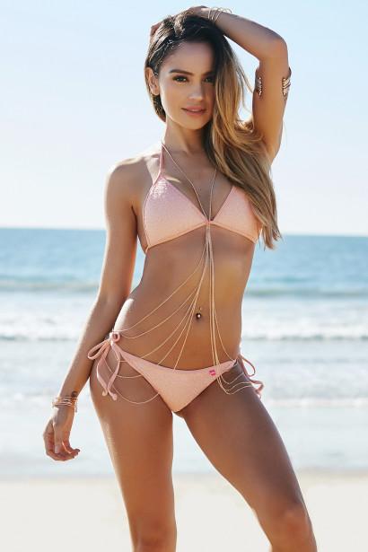 8df41ad0c3 Vegas Blush Triangle Top Single Rise Scrunch Bun® Sexy Sequin Bikini