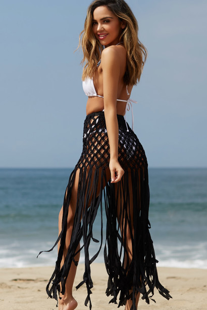 Mercier Black Fringed Crochet Beach Skirt