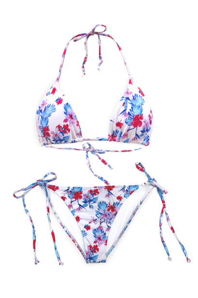 Pink & Blue Tropical Triangle Top & Pink & Blue Tropical Full Coverage Scrunch Bottom