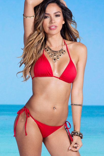 Acapulco Red Cheeky Micro Scrunch Bun® Bottoms & Triangle Top Bikini