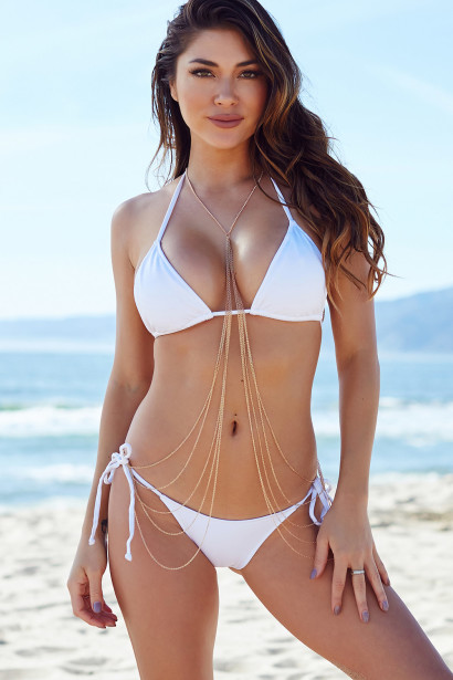 d2a445d2d3 White Triangle Top Bikini   White Micro Scrunch Bun® Bottoms