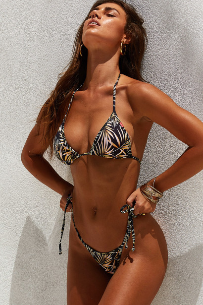 Laguna Black Palm Triangle Bikini Top & Venice Black Palm Mid Rise Cheeky Micro Bikini Bottom