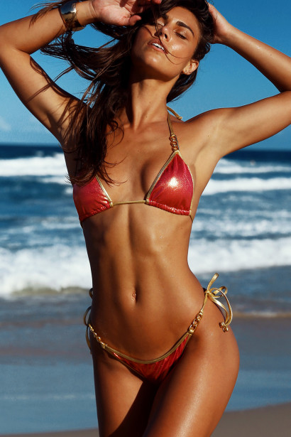 Laguna Sangria & Gold Triple Chain Bikini Top & Panama Sangria & Gold Triple Chain Bikini Bottom
