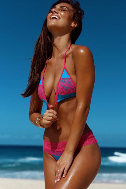Maui Jade & Fuchsia Triangle Top Scrunch Bottom Sexy Lace Bikini Swimsuit