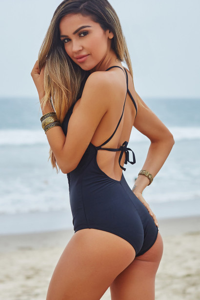 2480a0138a3ed Willow Black Crochet Cut Out One Piece Swimsuit