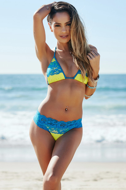 Maui Neon Yellow & Turquoise Triangle Top Scrunched Sexy Lace Bikini Swimsuit