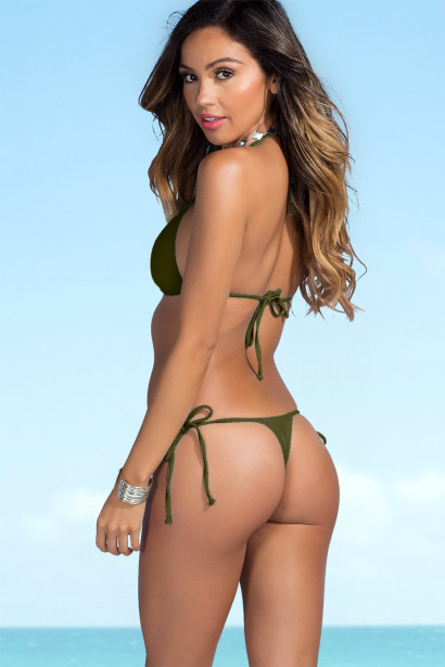 Sexy Solid Olive Triangle Top & G-String Thong String Bikini