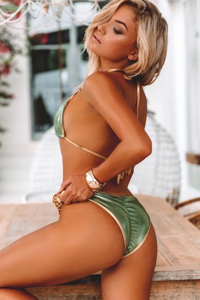 Laguna Olive & Gold Triple Chain Bikini Top & Panama Olive & Gold Triple Chain Bikini Bottom