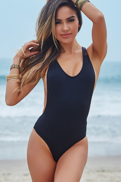 Acacia Black Strappy Crisscross Back Sexy High Cut One Piece ... b6f4bd715c3a