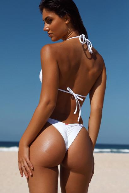 White Triangle Bikini On a Chain Top & White Cheeky Micro Bikini On a Chain Bottom