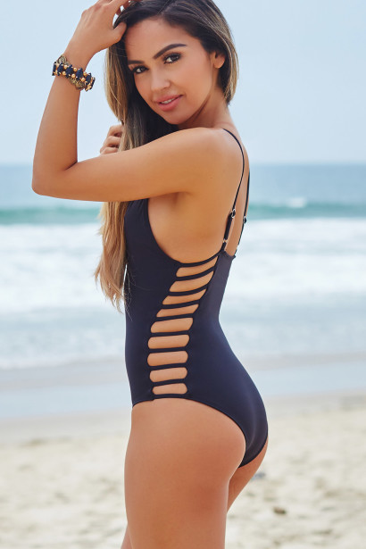 Peony Black Deep V Side Cut Out Sexy One Piece Swimsuit