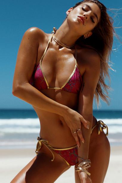 Magenta Snake Print & Gold Jamaica Bikini Top & Jamaica Bikini Bottom