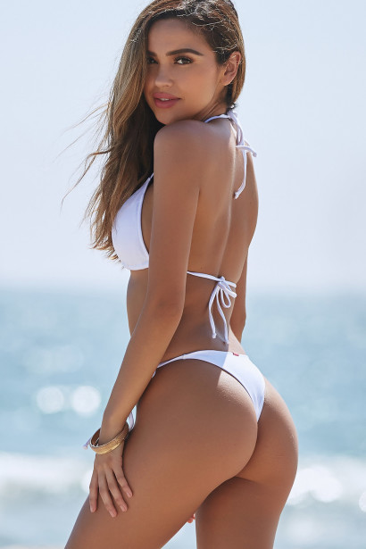 White Triangle Bikini Top & White Brazilian Thong Bottom