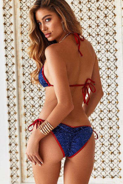 Red Shimmer & Navy Blue Sequin Triangle Top & Red Shimmer & Navy Blue Sequin Classic Scrunch Bottom
