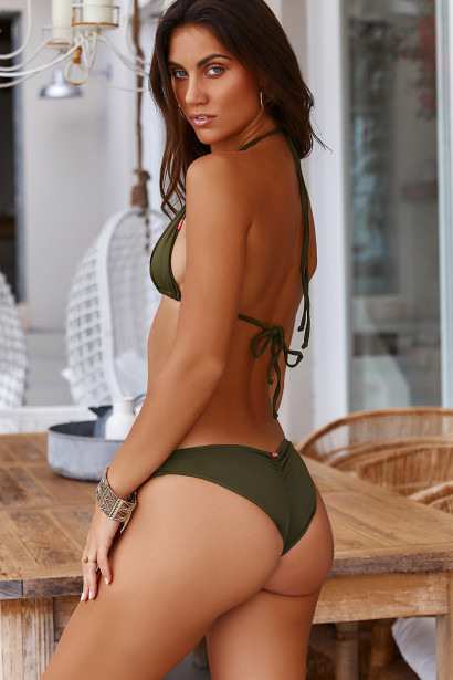 Olive Triangle Top & Olive Banded Classic Scrunch Bottom