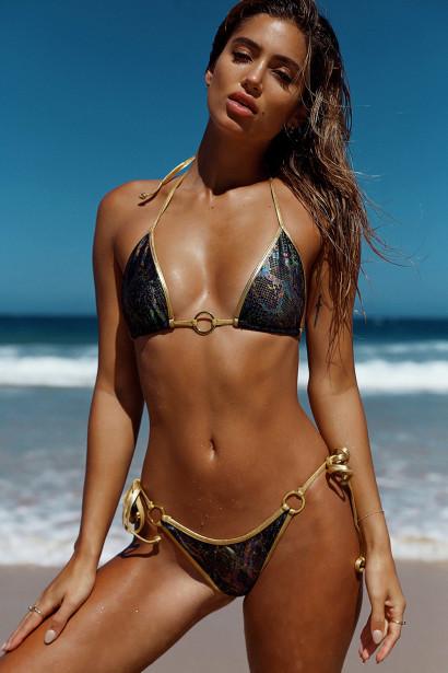 Laguna Black Snake & Gold Center Loop Bikini Top & Panama Black Snake & Gold Side Loops Bikini Bottom