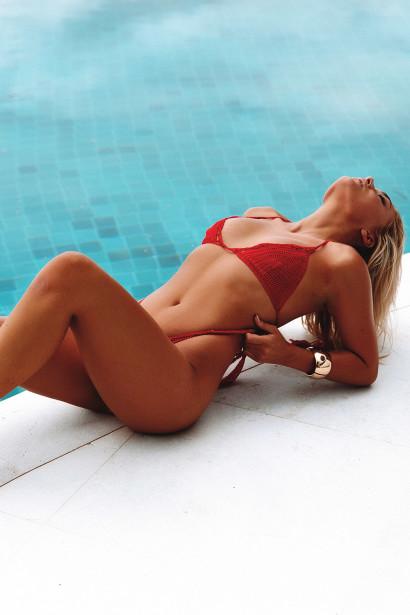 Hyacinth Red Bikini Top & Rosemary Red Bikini Bottom