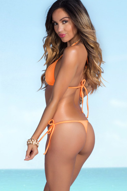 Palm Beach Sexy Solid Neon Orange Triangle Top Thong String Bikini