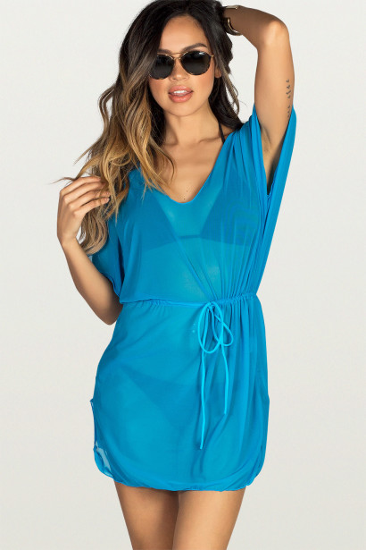 Afterparty Blue Mesh Hooded Cinch Waist Beach Cover Up
