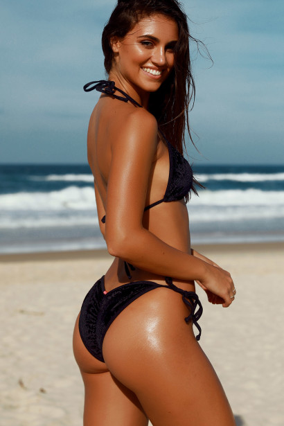 Laguna Classic Royalty Black Velvet Bikini Top & Panama Classic Royalty Black Velvet Bikini Bottom
