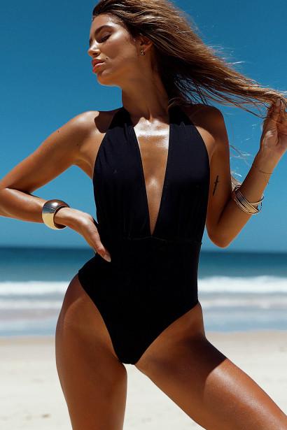 Liz Black Deep V Halter One Piece Swimsuit
