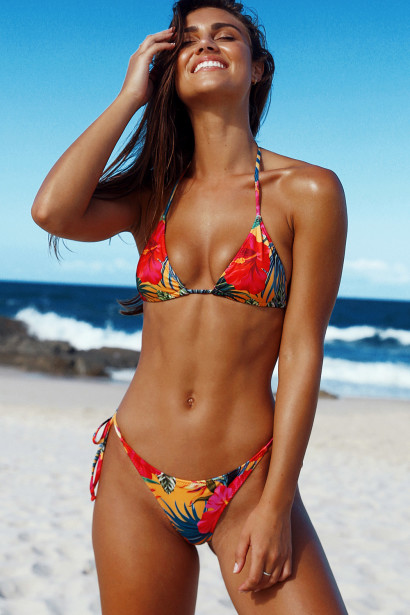 Sunset Tropical Print Triangle Top & Sunset Tropical Print Classic Scrunch Bottom