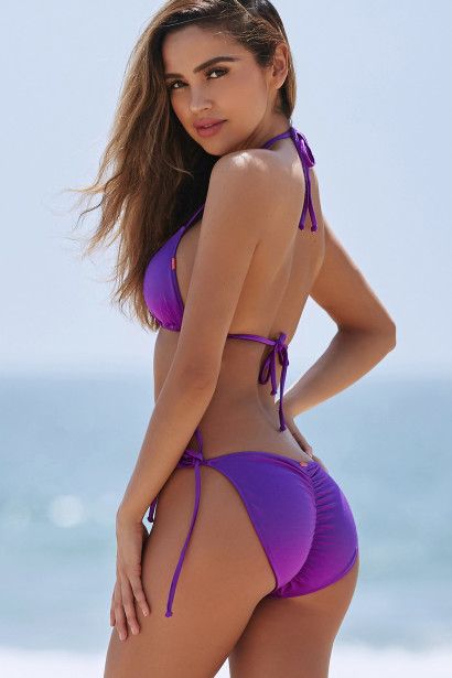 Purple Triangle Top & Purple Full Coverage Scrunch Bottom