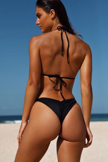 Black Triangle Bikini On a Chain Top & Black Classic Bikini On a Chain Bottom