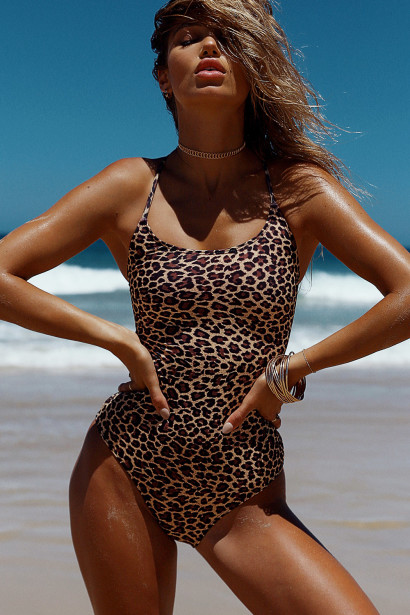 Marilyn Leopard Back Lace Up One Piece Swimsuit