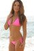 Venice Solid Neon Pink Triangle Bikini Top & Sexy Micro Scrunch Bottom Swimsuit