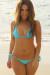 Venice Solid Aqua Blue Triangle Bikini Top & Sexy Cheeky Micro Scrunch Bottom Swimsuit