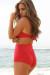 Red Bandeau Top & Sexy High Waist Scrunch Bottom Bikini