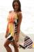 Peach Multi Colored Stripes Hi-Low Dress