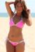 Bali Neon Pink & White Sexy Triangle Top Micro Scrunch Rhinestone Ring Bikini