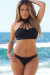 Melbourne Black Caged High Neck Halter Double Strap Bikini