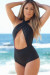 Hollywood Black Wrap Halter Retro One Piece Scrunch Buns® Swimsuit